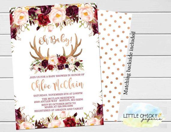 Marsala Rose Gold Boho Baby Shower Invitation, Floral Antlers Baby Shower Invitation
