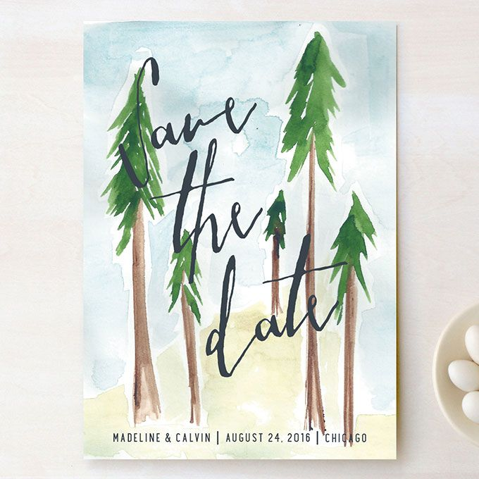 """Brides.com: . """"Tall Trees"""" luxe printed save-the-date, $158 for 100, Peter Loves Jane for Minted"""