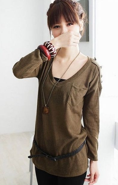 Popular Long Sleeve Oversized Women T-shirt - BuyTrends.com