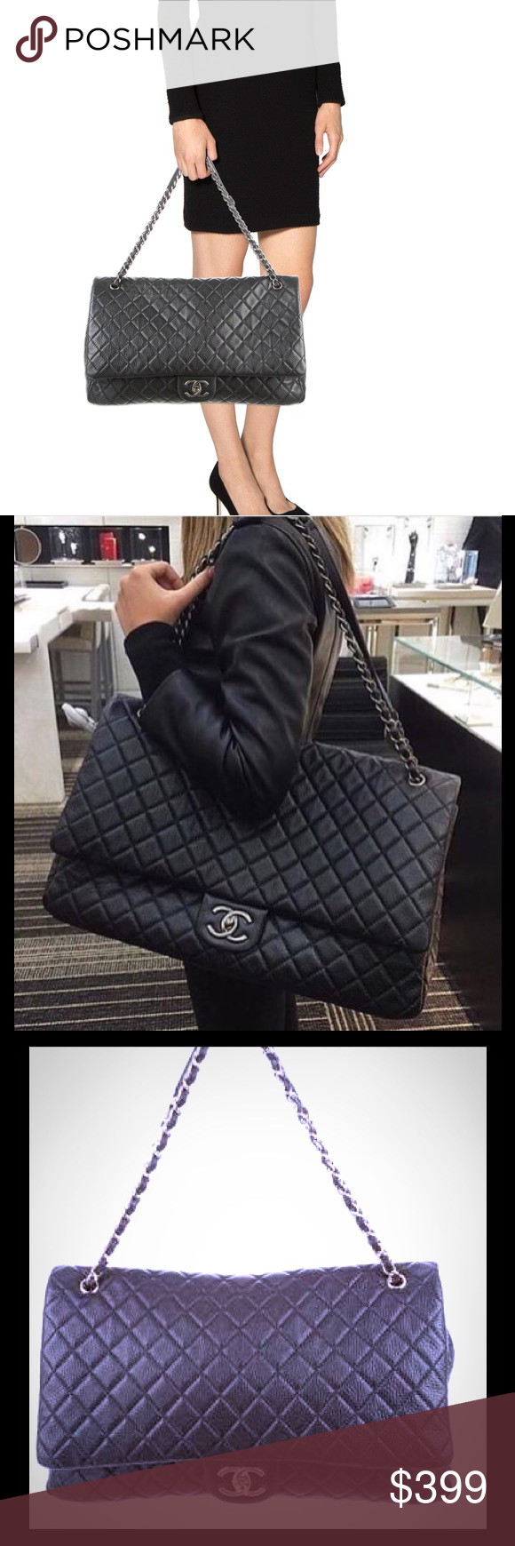 4f3ea46c0759 Inspired XXL airline flap bag Gorgeous caviar leather bag used once only  like new.....1:1 exact copy of real one...original one is over 8000 chanel  xxl ...