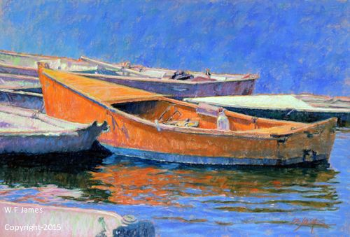DINNER KEY BOATS by W.F. James Pastel ~ 19 x 28