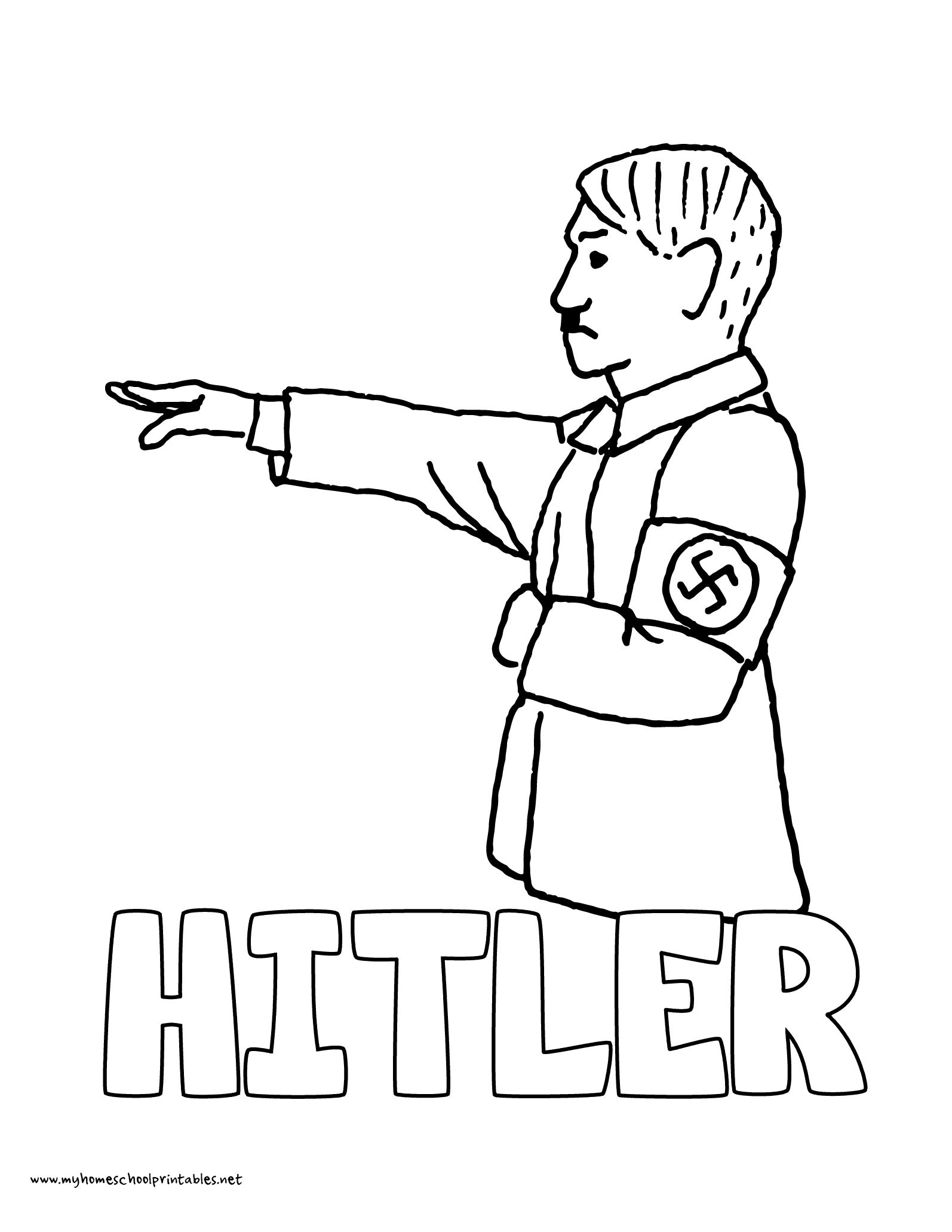 Hitler WWII World War 2 coloring page