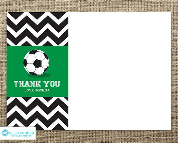 Chevron Soccer Thank You Note Soccer Printable Football Printable Soccer Birthday Party Sports Sports Birthday Soccer Birthday Parties Soccer Birthday