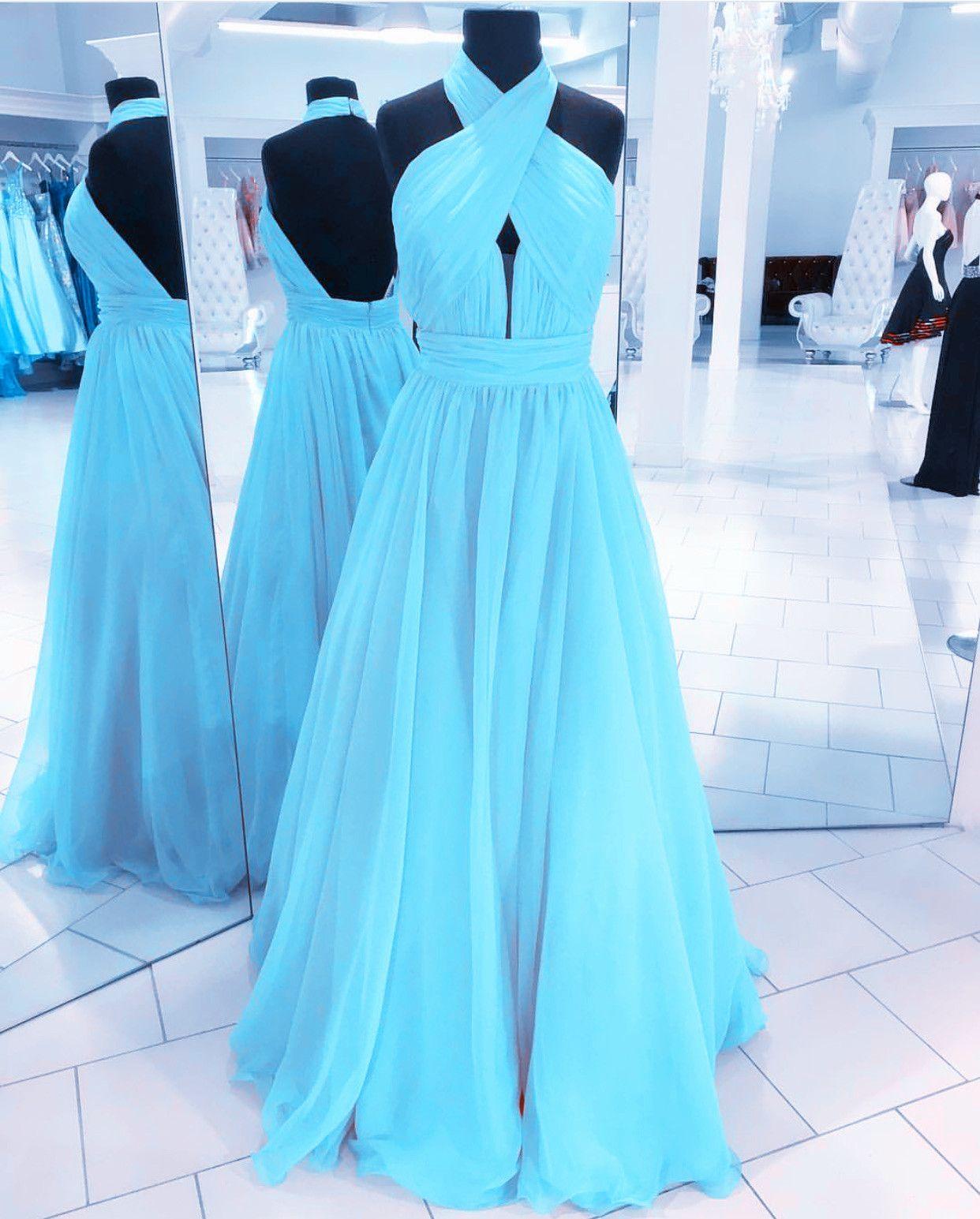 Halter Chiffon Open Back Evening Dresses Floor Length Prom Gowns ... 51f06bd2eccc