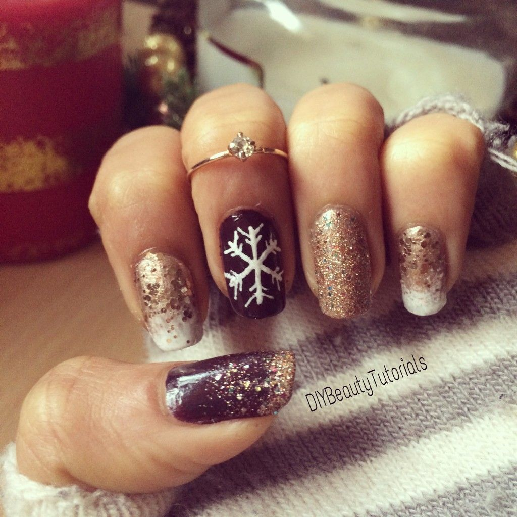 Nailed It: Christmas / New Year Nails - | Gold glitter, Plum nails ...
