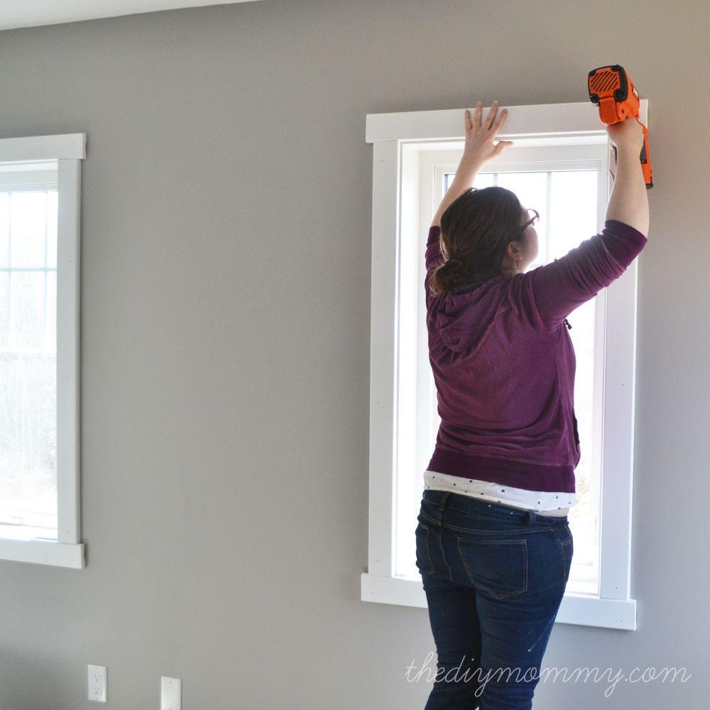 Simple interior window trim - Diy Simple Craftsman Shaker Window Door Trim By The Diy Mommy