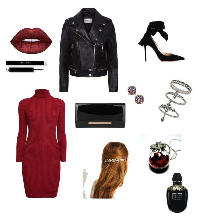 """""""Club dress"""" by drey-harper on Polyvore featuring Miss Selfridge, Rumour London, Kate Spade, Gianvito Rossi, Sandro, Jimmy Choo, Lime Crime and Alexander McQueen"""