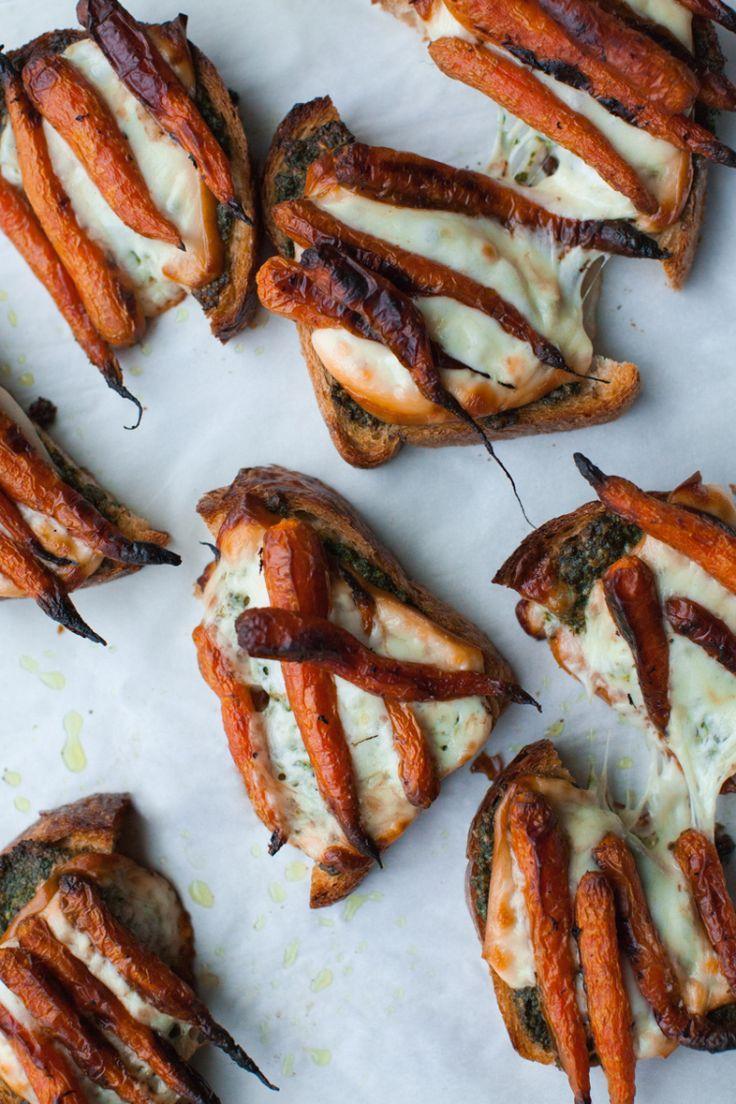 smokey carrot bruschetta + pesto