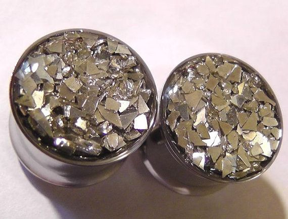 Silver Glass Confetti Plugs Embedded Resin Filled - Made to Order  0, 00,1/2, 9/16, 5/8,11/16,3/4,7/8,24mm,26mm,28mm,30mm,32mm