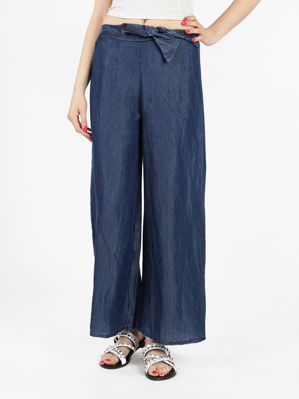 d23ab71253 Pantaloni a palazzo effetto jeans, cotone leggero e fresco, elastico  arricciato in vita sulla