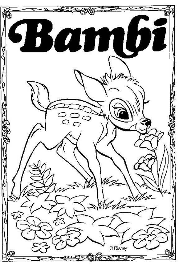 Discover This Amazing Coloring Page Of Bambi Disney Movie Here With Flowers A Drawing