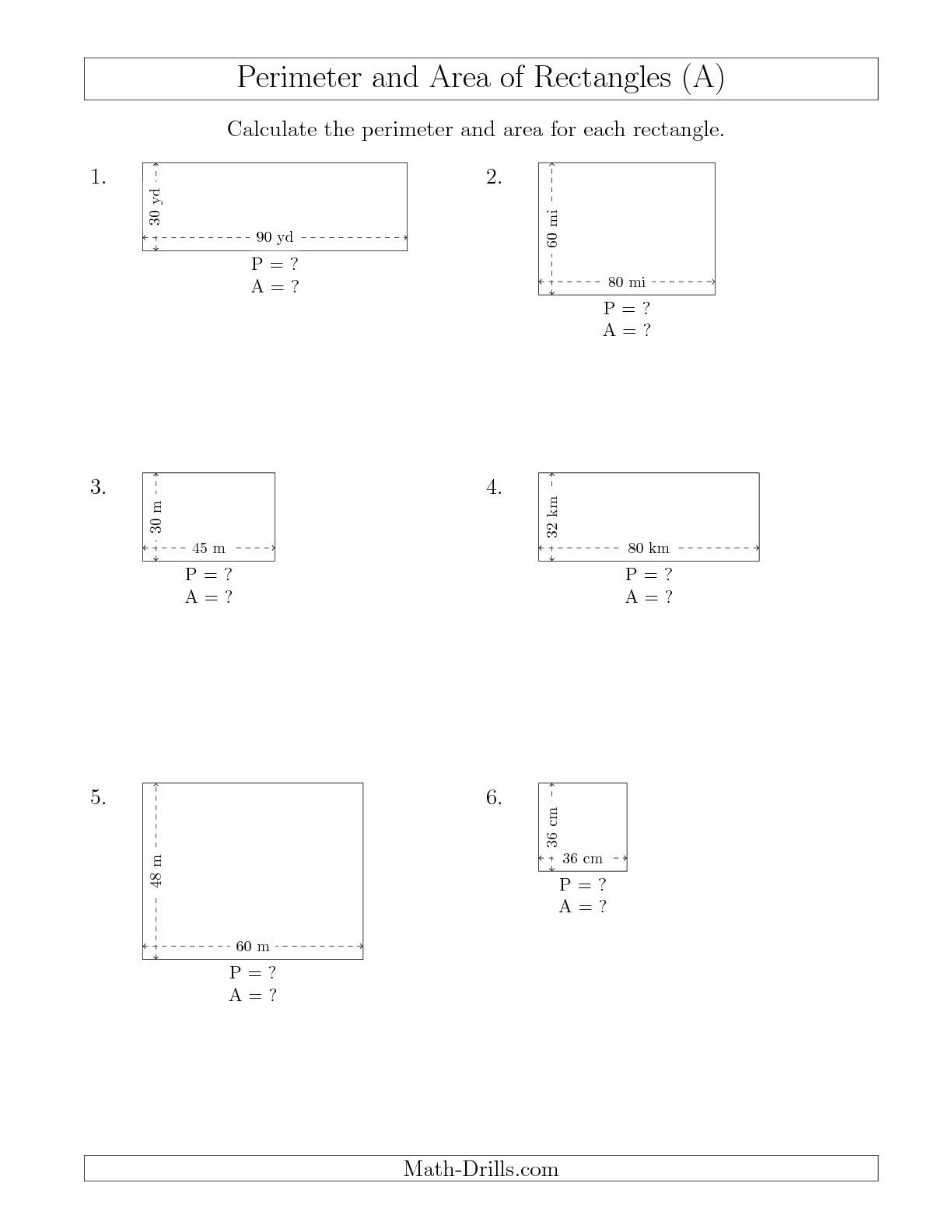 Calculating The Perimeter And Area Of Rectangles From Side Measurements Larger Whole Numbers