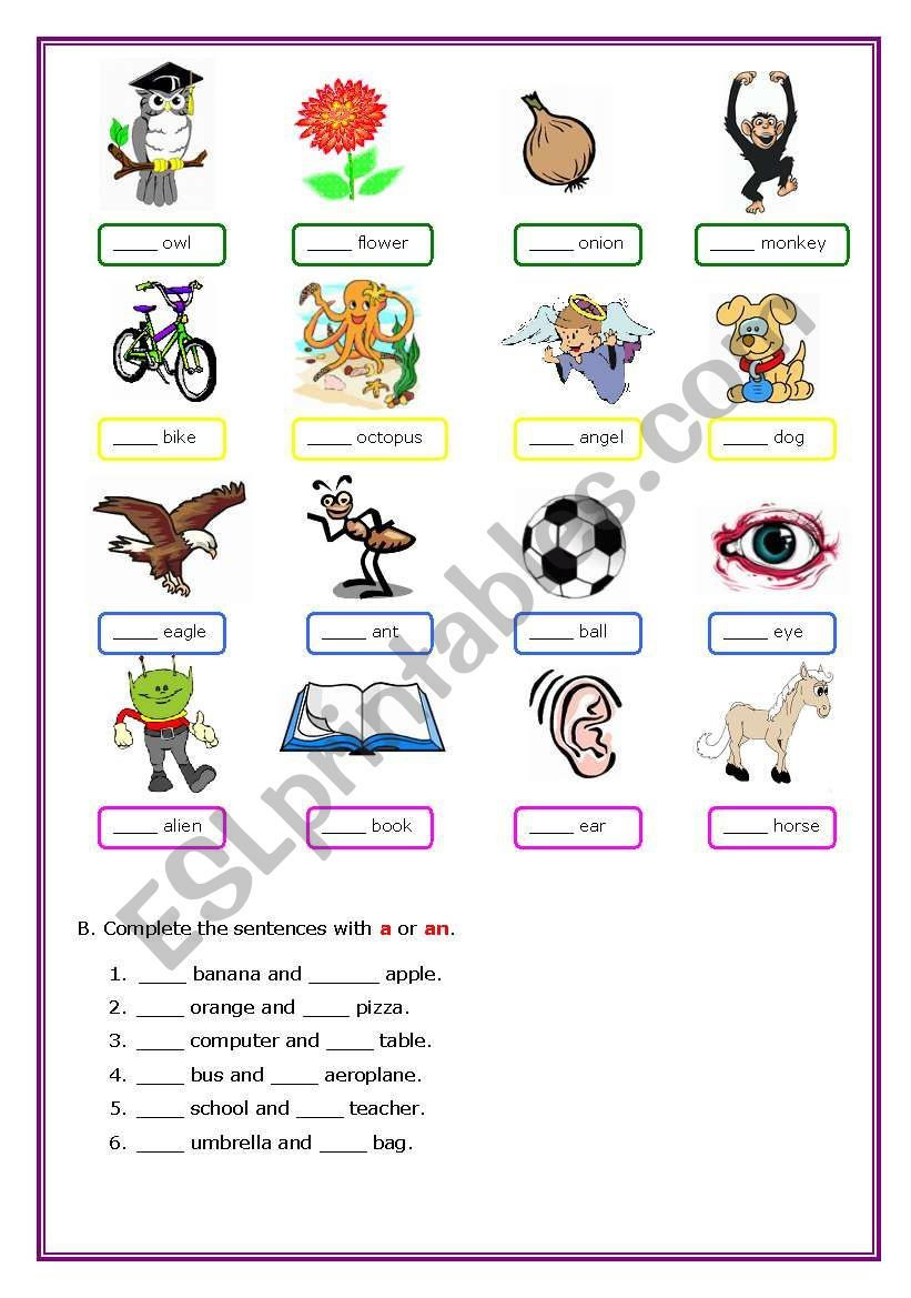 Using A And An Worksheet Free Esl Printable Worksheets Made By Teachers English Grammar Worksheets English Grammar For Kids English Lessons For Kids
