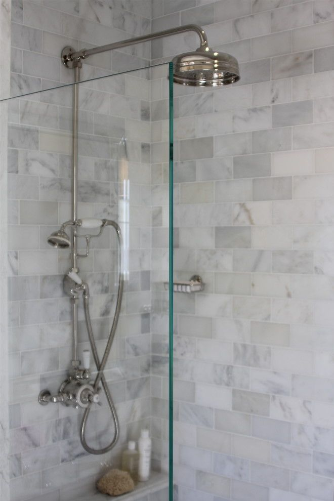 Wonderful Marble Subway Tile Bathroom Contemporary With Glass Shower Divider Marble