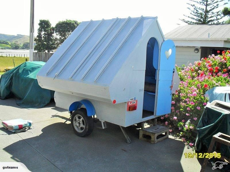 interesting fold open hardsided camper this is a blue dolphin compact camping pinterest. Black Bedroom Furniture Sets. Home Design Ideas