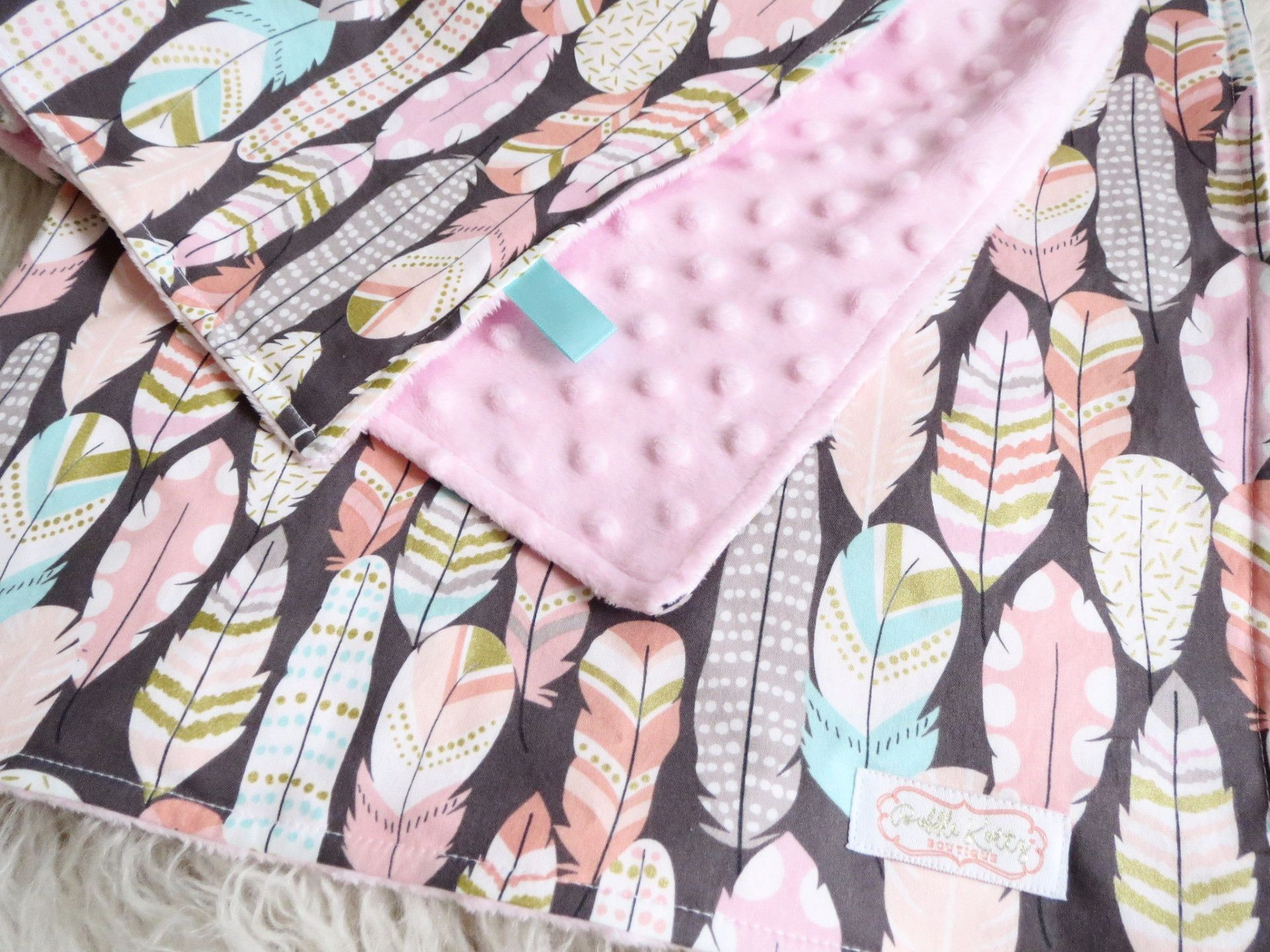 Baby Girl Is Sure To Snuggle With This Feather Baby Blanket For Years To Come Super Stylish And Modern Pink Minky Blanket With Feathers Is A Great Addition