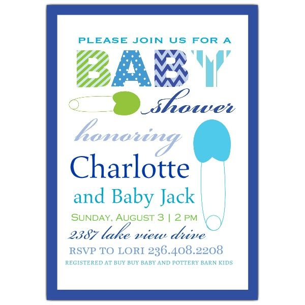 Clothespin Blue Baby Shower Invitations Baby Shower Baby Shower
