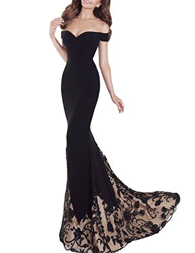 Fanmu Off Shoulder Spandex Long Prom Dresses Evening Gowns Black US ...