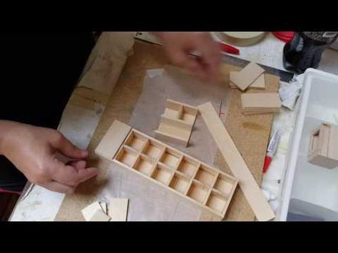 DIY Miniature Kitchen Cabinets   How to make Kitchen cabinets for your Dollhouse - YouTube #miniaturekitchen