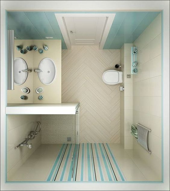 Beautiful Soft Blue Tiny Bathroom  Small Bathroom Design Interesting Tiniest Bathroom Designs Design Inspiration