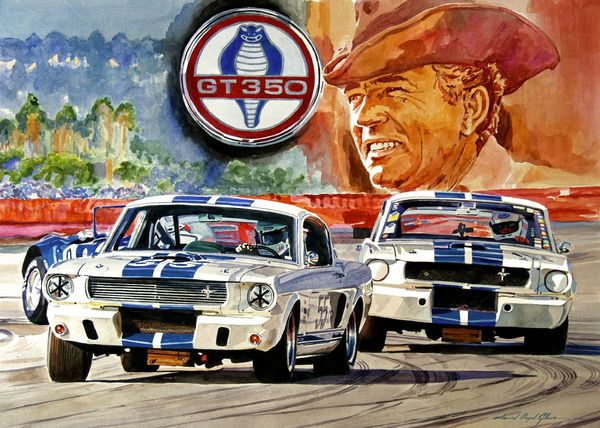 The Shelby 350 GT was one of the first real hot muscle cars.  An American classic painted in watercolor by David Lloyd Glover