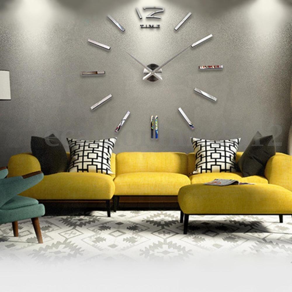 Modern Acrylic Art 3D DIY Mirror Surface Wall Sticker Clock Home ...