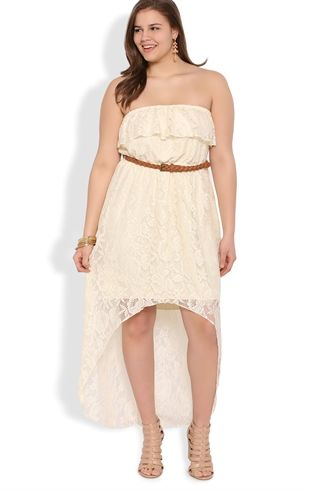 52c35d7f216 Plus Size Crochet Lace High Low Dress with Belted Waist