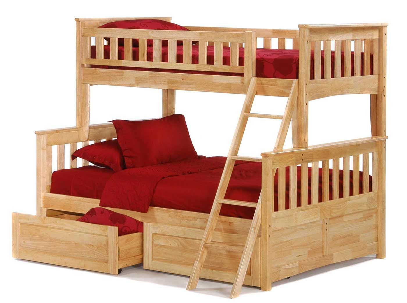 Twin Over Full Size Red Accent Bunk Beds Beach House Pinterest