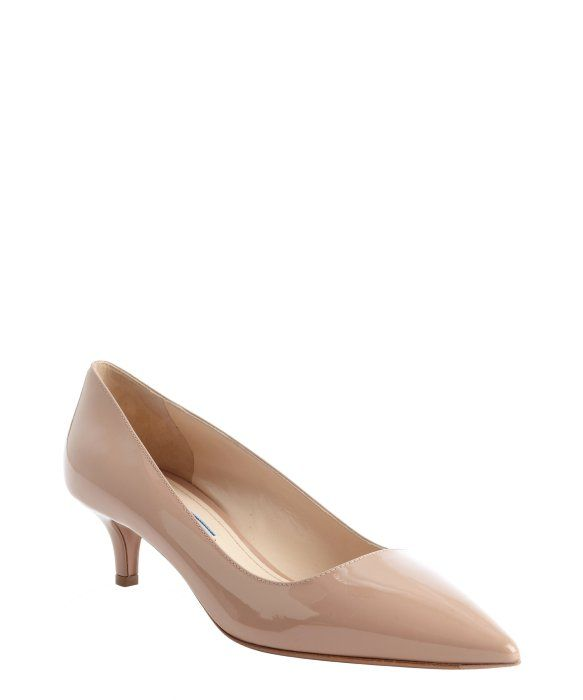 56d33c32b25e8 Prada nude patent leather kitten heel pumps