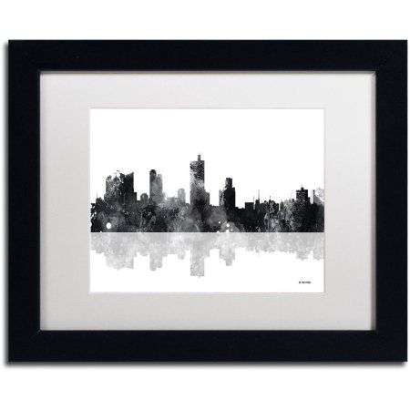 Trademark Fine Art Fort Worth Texas Skyline BG-1 inch Canvas Art by Marlene Watson, White Matte, Black Frame, Size: 16 x 20