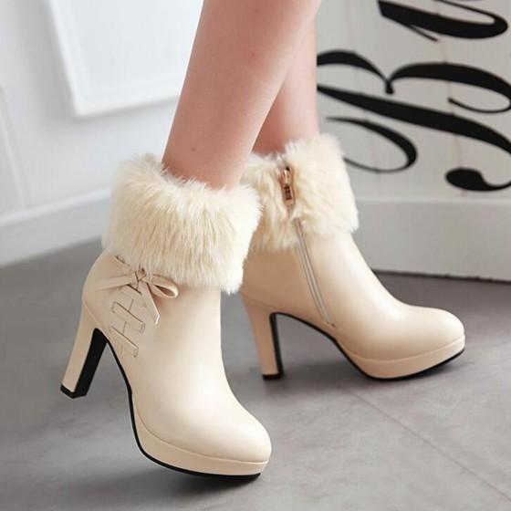 New Women Beige Round Toe Chunky Fur Zipper Fashion Martin Boots 3