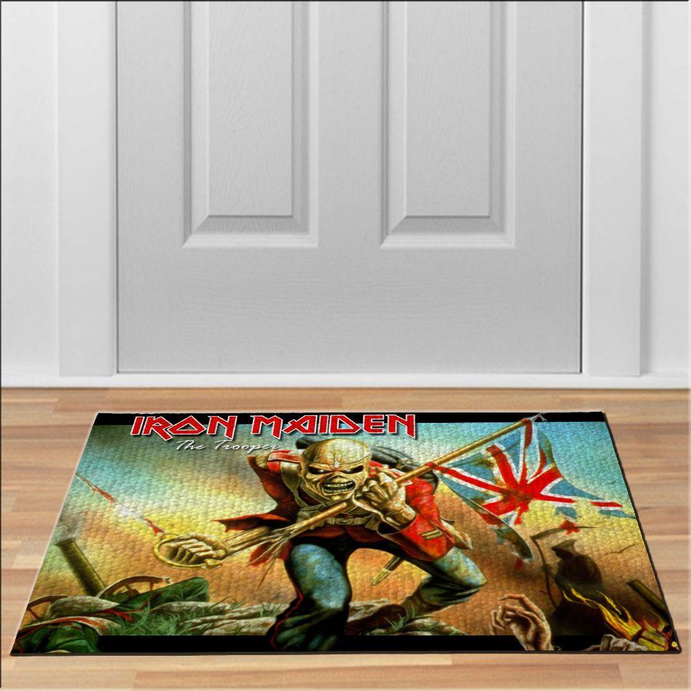 cool IRON MAIDEN THE TROOPER Floor Durable Door Mat Non-Slip ...