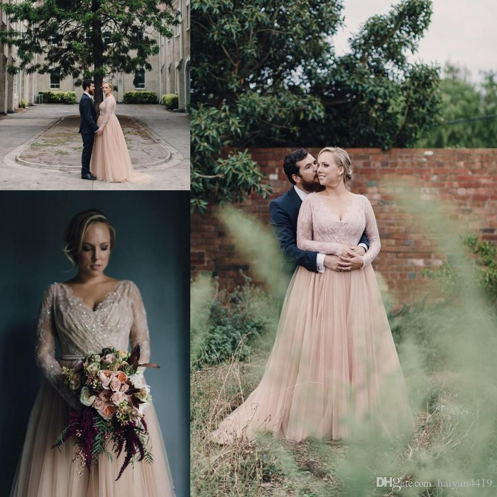 2017 new country a line wedding dresses v neck long for Long sleeve blush wedding dress