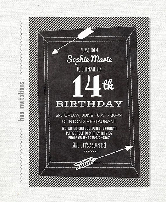 chalkboard 14th birthday party invitation by hueinvitations