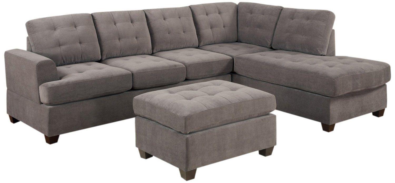 Amazon.com Bobkona Austin 3-Piece Reversible Sectional with Ottoman Sofa Set  sc 1 st  Pinterest : sectional sofa amazon - Sectionals, Sofas & Couches