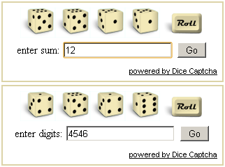 Instead of near impossible to decipher characters that make you wish you weren't a human after all, with Dice Captcha you can now offer your users a dynamic and crystal clear roll-dice game.