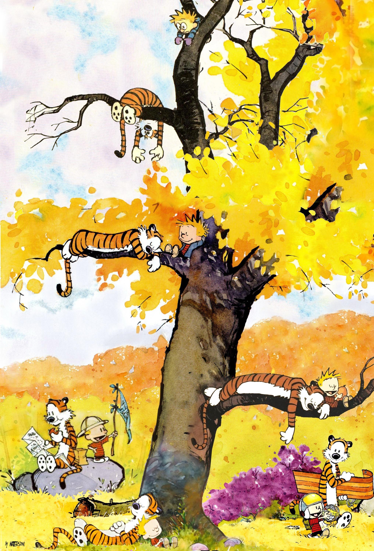A Calvin And Hobbes Wallpaper I Made A While Back Oc Calvin