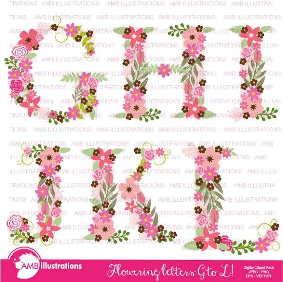 Floral Letter Clipart Amb 1104b Wedding Fonts 3 00 Wedding