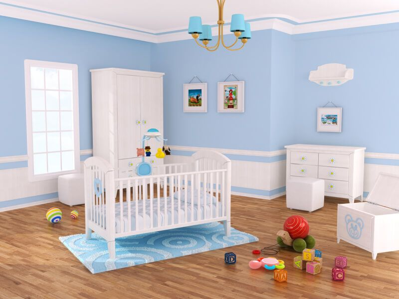 Baby Nursery Decor, Wooden Floor Blue White Furniture Natural Lighting  Chandelier Drawer Turtle Dolls Blue
