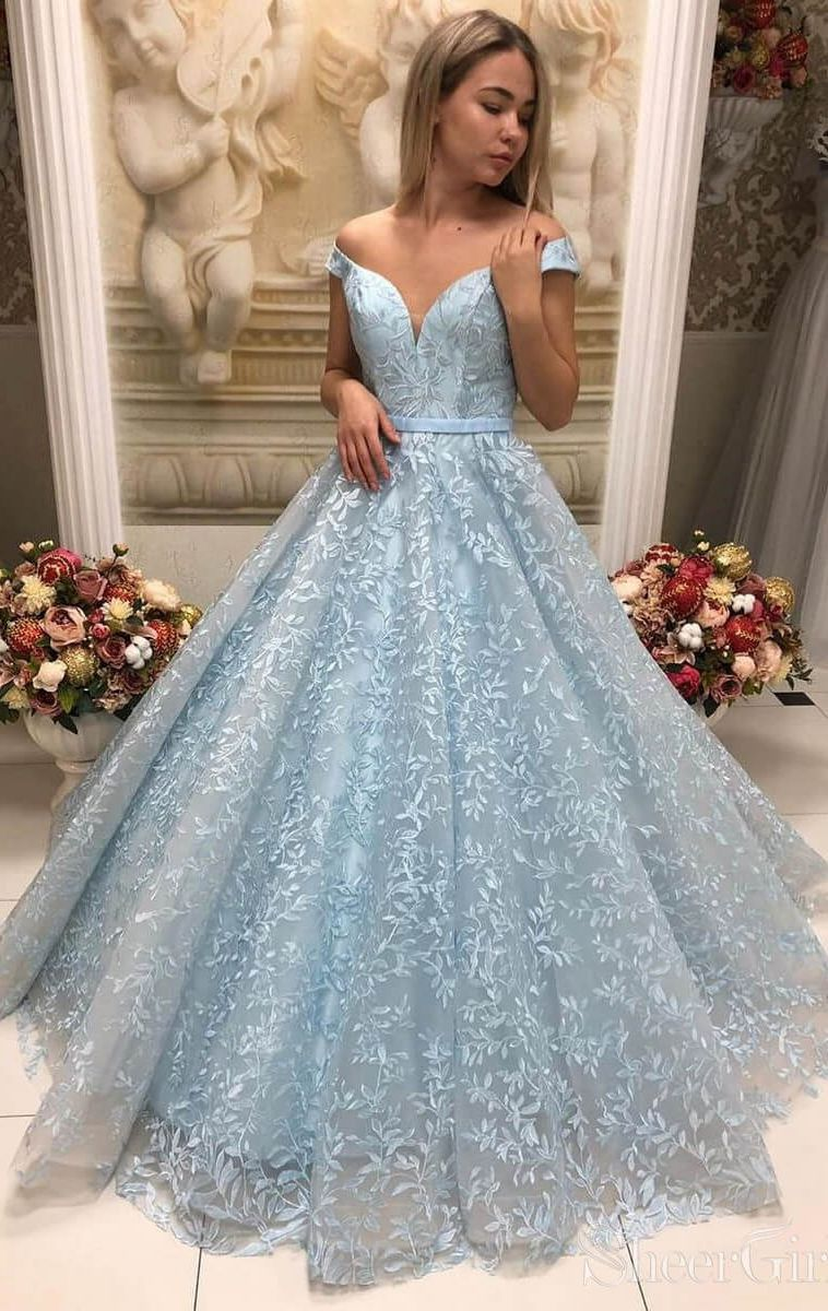 Vintage Lace Ball Gown Prom Dresses Off the Shoulder Prom Dress ARD2182 2
