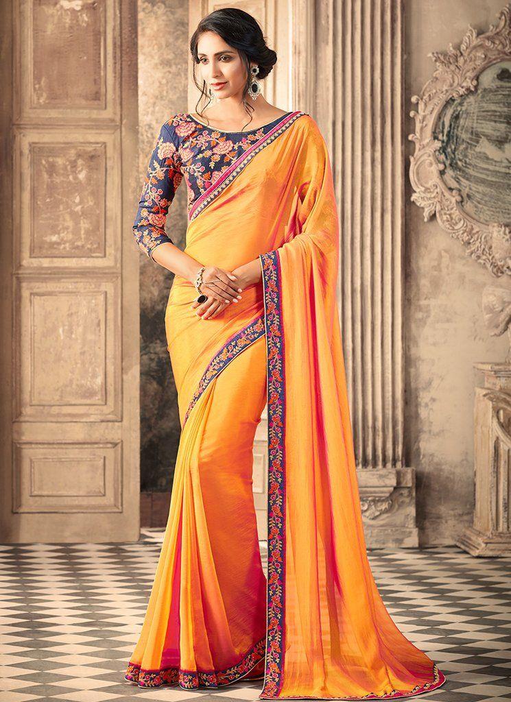 Blue And Golden Orange Embroidered Silk Saree Sarees In 2019
