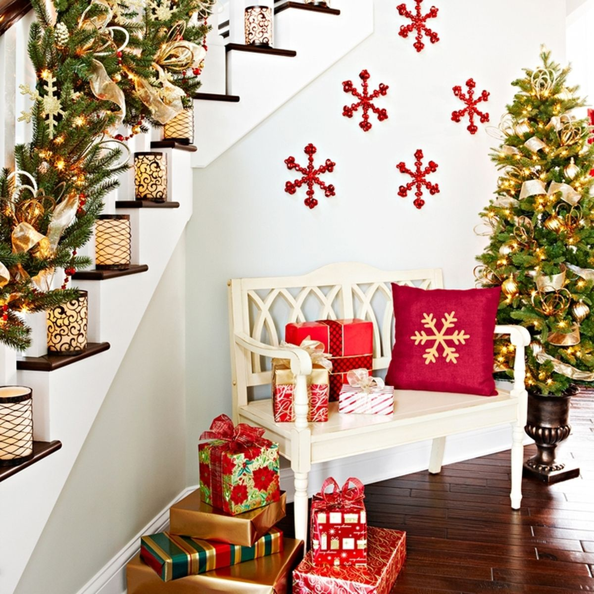 luminaria staircase for christmas christmas decorations indoor sherman financial group - Christmas Decorations Indoor