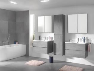 X o storke badkamermeubel in beton grijs met spiegelkast en