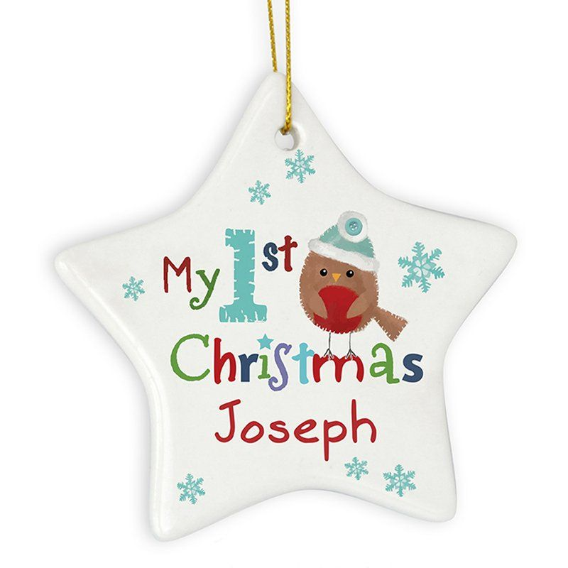 robin my 1st christmas personalised ceramic decoration - Christmas Tree Decorations Names