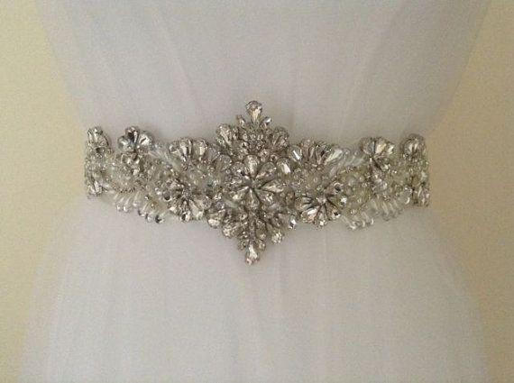 Crystal Bridal Sash-Rhinestone Wedding Belt-Bridal Sash-Wedding Dress Belt on Etsy, $87.67