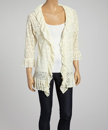 Another great find on #zulily! Beige Lace Open Cardigan - Women by Lady Noiz #zulilyfinds