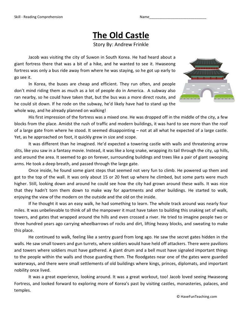 Reading Comprehension Worksheet The Old Castle Reading
