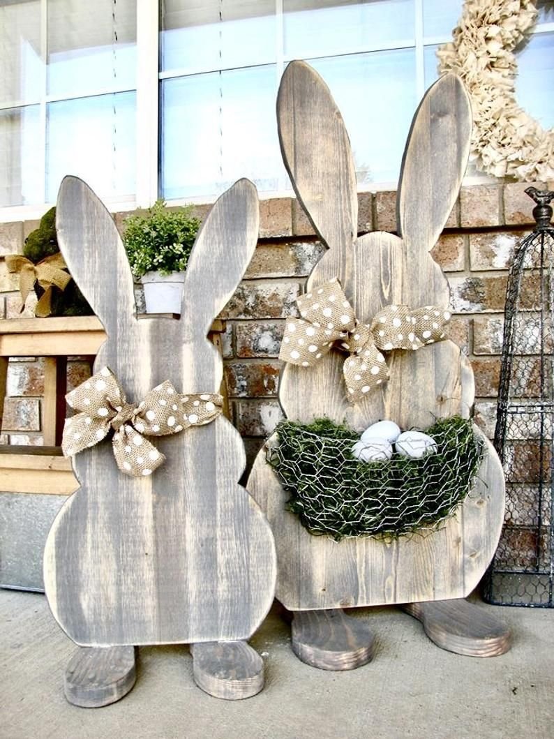 Easter Rabbit Set of 12 Decor Wooden Rabbits/Bunny Statues