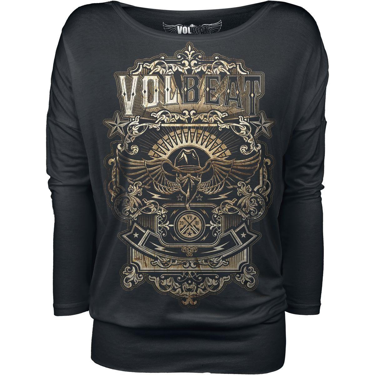 """Jetzt mal ernsthaft: Ob als Shirt, Girlie oder Kapuzenpulli – das """"Old Letters""""-Motiv der dänischen Rock/Metal-Hitfabrik Volbeat sieht einfach nur ohne Ende geil aus! Wie sich das kräftige Gold vom Grundschwarz des Shirts absetzt und wie der Bandschriftzug stolz über dem geflügelten Bandito schwebt – einfach nur """"Above Heaven""""! Können wir ja auch nichts dafür. Das Girl-Shirt kommt mit 3/4-Ärmeln und ist exklusiv nur bei EMP erhältlich."""