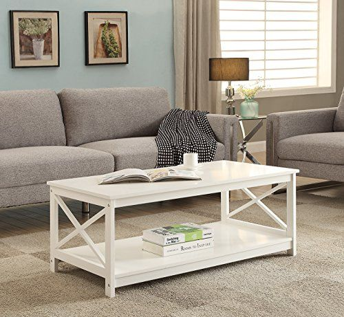 White Finish X Design Wooden Cocktail Coffee Table Shelf